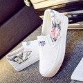 Das Mulheres novas Flats Florais de Verão 2016 Respirável Sapatos de Lona Plataforma Mulheres Alpercatas Mocassins de Sola Grossa Mulher Trepadeira