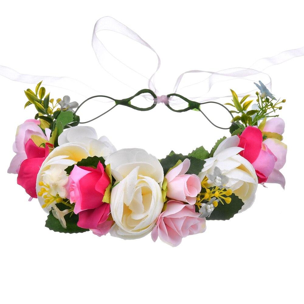 Bunte Blume Halo Kopf Krone Reif Kranz Garland mit Seide Band Kopfstück