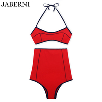 JABERNI High Waist Swimsuit Sexy Push Up Bikini 2017 Brand Swimwear Women Bandeau Bikinis Halter Bathing