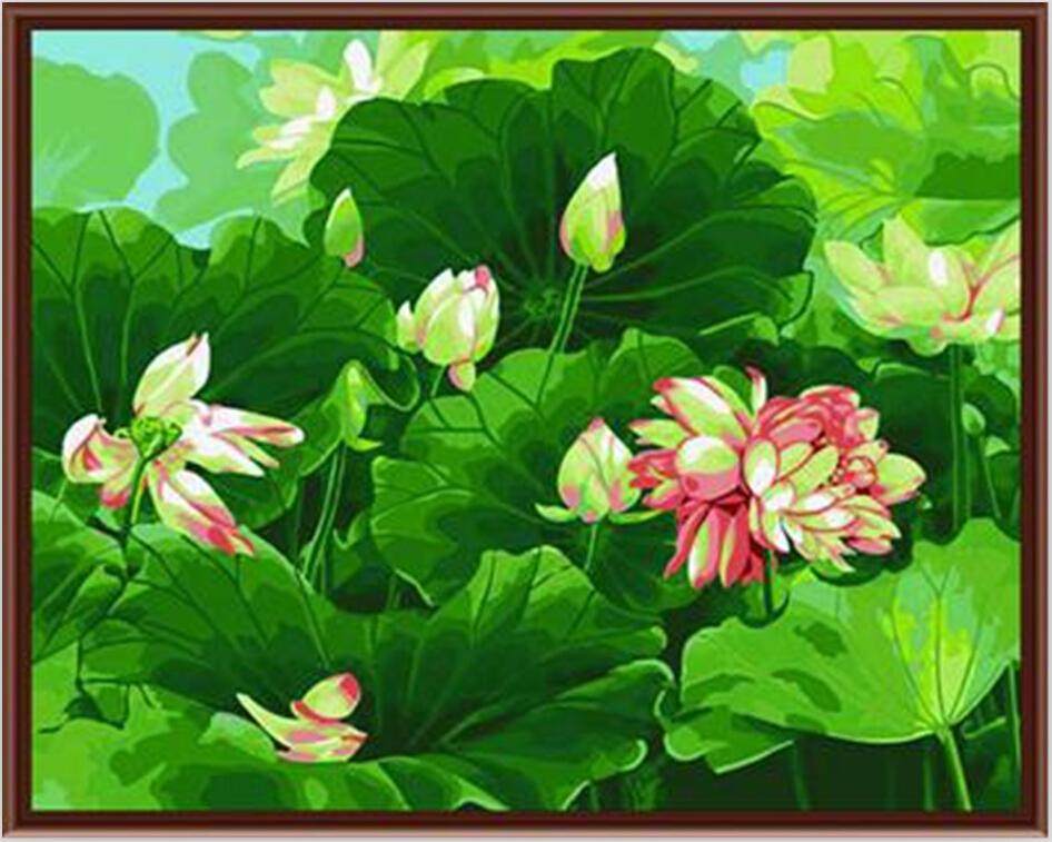 Lotus flower paintings pictures for Flower paintings on canvas