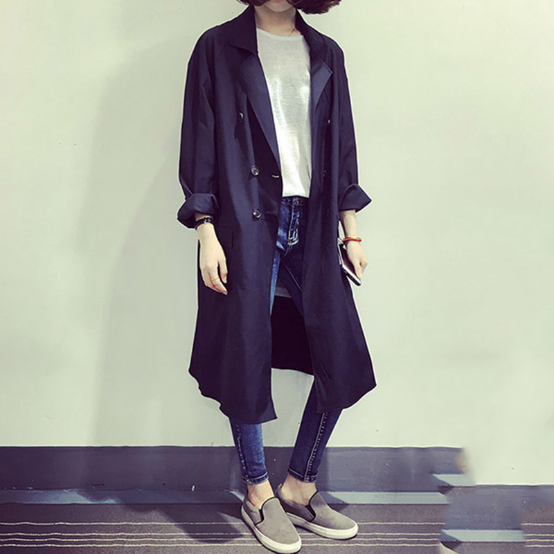 Windbreaker Cardigan Coat Long-Sleeves Autumn Double-Breasted Thin Leisure Long-Paragraph