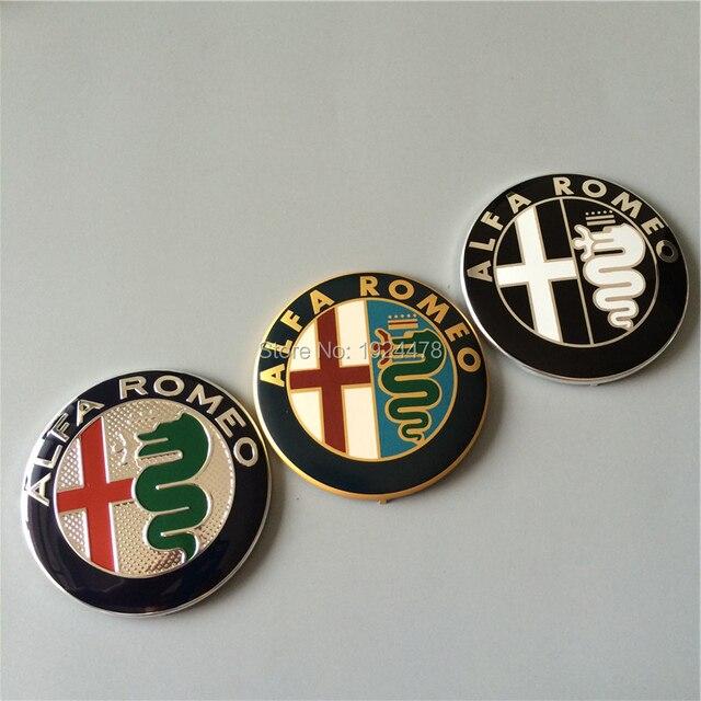 30pcs 74mm Alfa Romeo Gold Black Silver Car Badge Emblems Badges Emblem Stickers For Mito Gt 147 156 159 166 Giulietta Spider