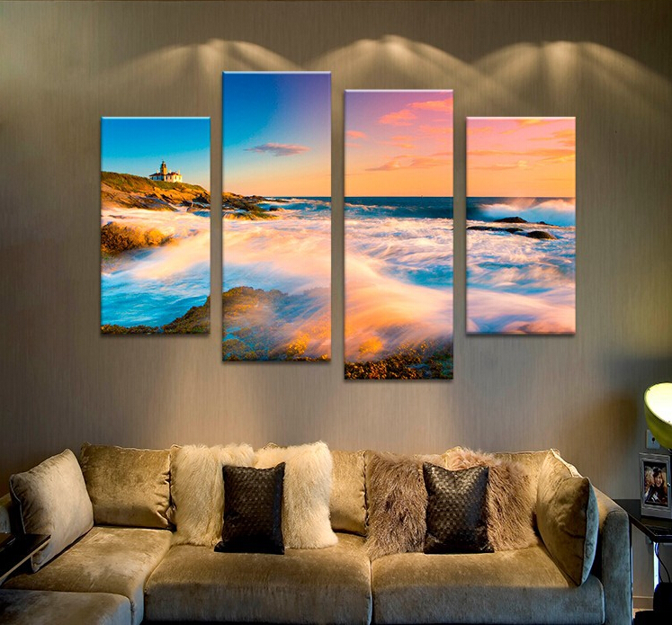 4PCS Nature Art Sunset Seascape Waves Wall Painting Print