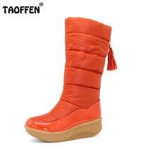 TAOFFEN Dama Invierno Cálido Zapatos de Algodón de Nieve Botas de Piel de Plataforma Plana zapatos de Tacón Alto Rodilla Botas de Las Mujeres de Cuero de La Pu Botas Size35-40