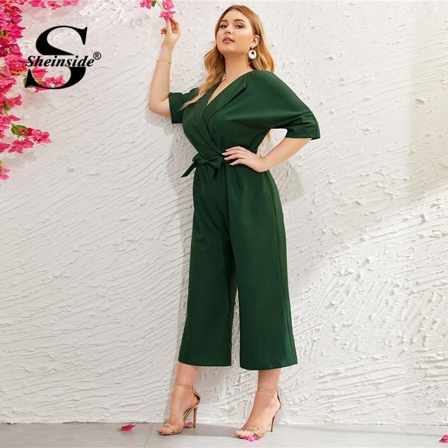 Sheinside Plus Size Green V Neck Wide Leg Jumpsuit Women 2019 Summer Zip Back Jumpsuits Office Ladies Solid Half Sleeve Jumpsuit 3