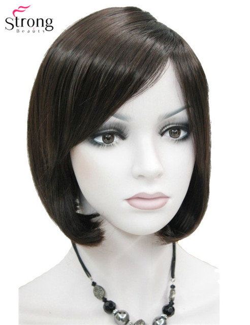 Short Straight Dark Brown Bob Side Swept Bangs Synthetic Wig Lady