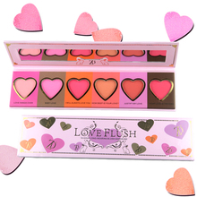 ZD 1pc 6 Colors Brand Makeup Blush Palette Love Flush Heart Shaped Cheek Blusher Baked Powder Face Cosmetics Palettes F2098