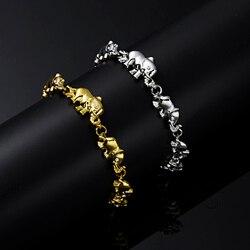 2Pcs Trendy Cute Elephant Animal Bracelet Lover Friendship Adjustable Gold Silver Color Charm Bracelet Couple Engagement Jewelry