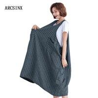 ARCSINX Jumper Dress Women Oversize 10XL 9XL 8XL 7XL 6XL 5XL 4XL Casual Korean Striped Women's Dress Large Size Summer Dresses