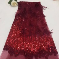 Madison Wine Lace Fabric Fashionble Nigerian Sequins Embroidered Lace Fabric With Feather Classic 3d Flowers Mesh Fabric Dress