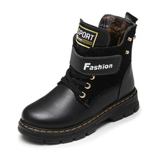 الأطفال الأحذية الخريف والشتاء الجلود مدرسة الصبي الأحذية الموضة في العجل الثلوج الأحذية أفخم الدافئة مقاوم للماء الاطفال مارتن الأحذية