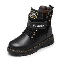 Crianças botas de couro outono e inverno escola menino sapatos moda na panturrilha botas de neve pelúcia quente à prova dmartin água crianças martin botas|Botas| |  -