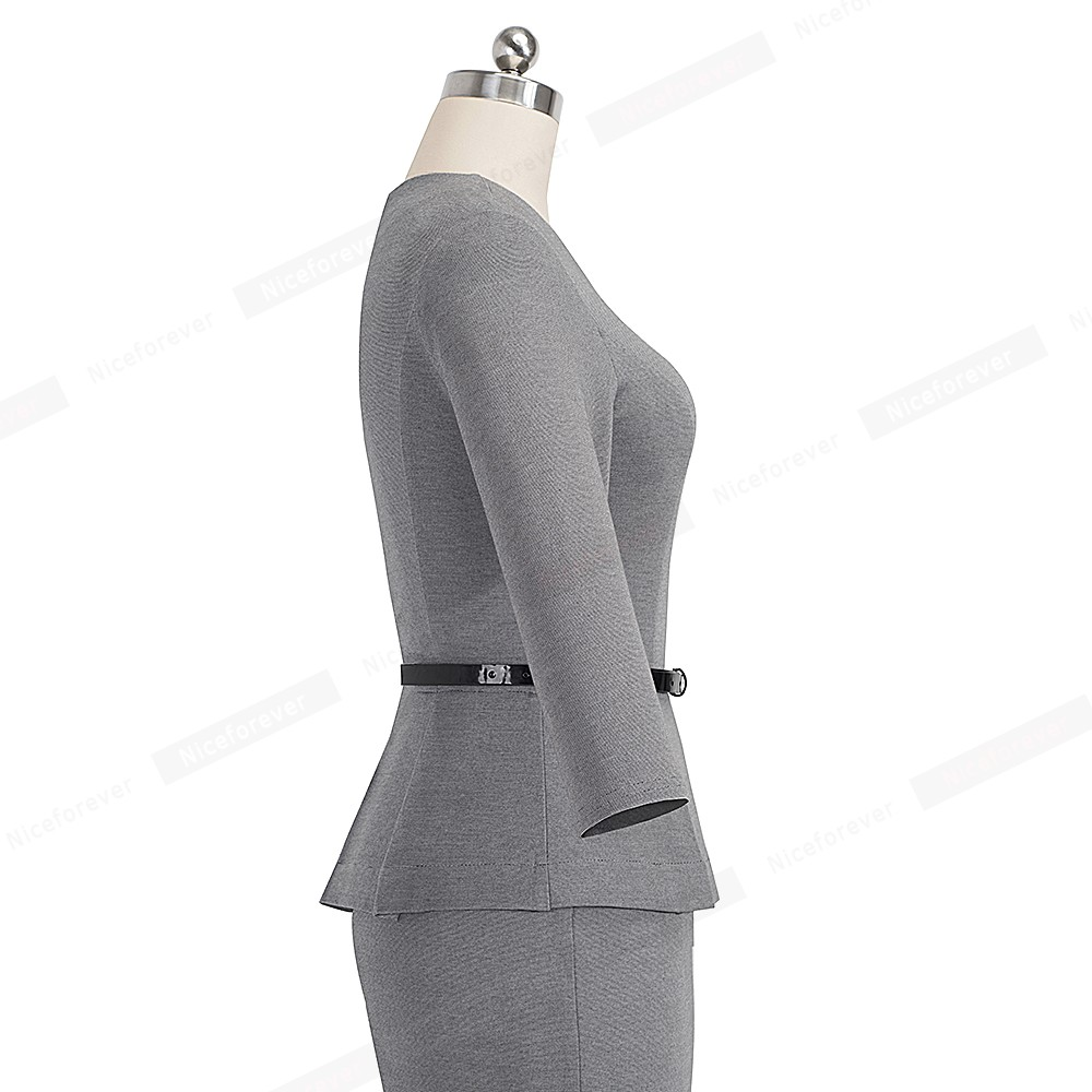 Image 3 - Nice forever Vintage Elegant Wear to Work with Belt Peplum  vestidos Business Party Bodycon Office Career Women Dress B473Dresses