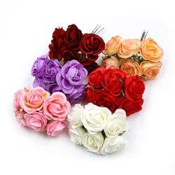 6pcs/lot  Artificial Flower 4cm Silk Rose Bouquet For Wedding Home Decoration DIY Wreath Scrapbook Gift Box Flower