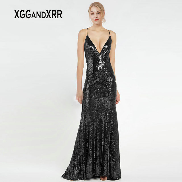 Sexy V Neck Black Mermaid Long Evening Dresses 2019 Elegant Fitted Sequins Prom Party Dress with Straps and Strappy Back