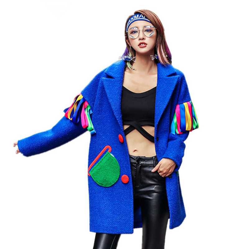 Manteau Casual Survêtement Rubans Bleu Épais Hiver Femmes Veste Marque Nouveau Pardessus Chaud Femme Blue Spliced Automne Laine Longue De 2018 wq0O7fUx7