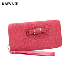 KAFVNIE high-performance clutch Women's purse  Women's Bow zipper pencil case wallet female mini card package Money clip1318