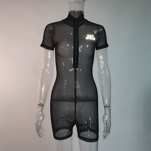 Reflective Letter Black Mesh Fitted Romper Women Sexy Playsuit See Through Zipper Bodycon Jumpsuit Short Summer C66-I3 5