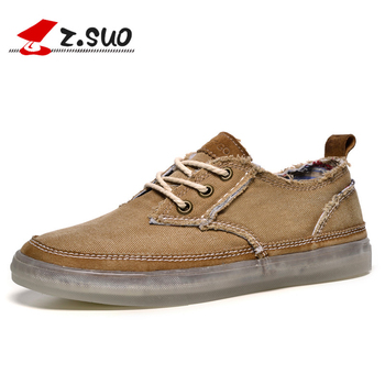 Z.Suo Brand Spring Autumn Rubber Mens Shoes Breathable Top Quality Fashion Lace up Canvas Casual Shoes Flats Zapatillas Hombre