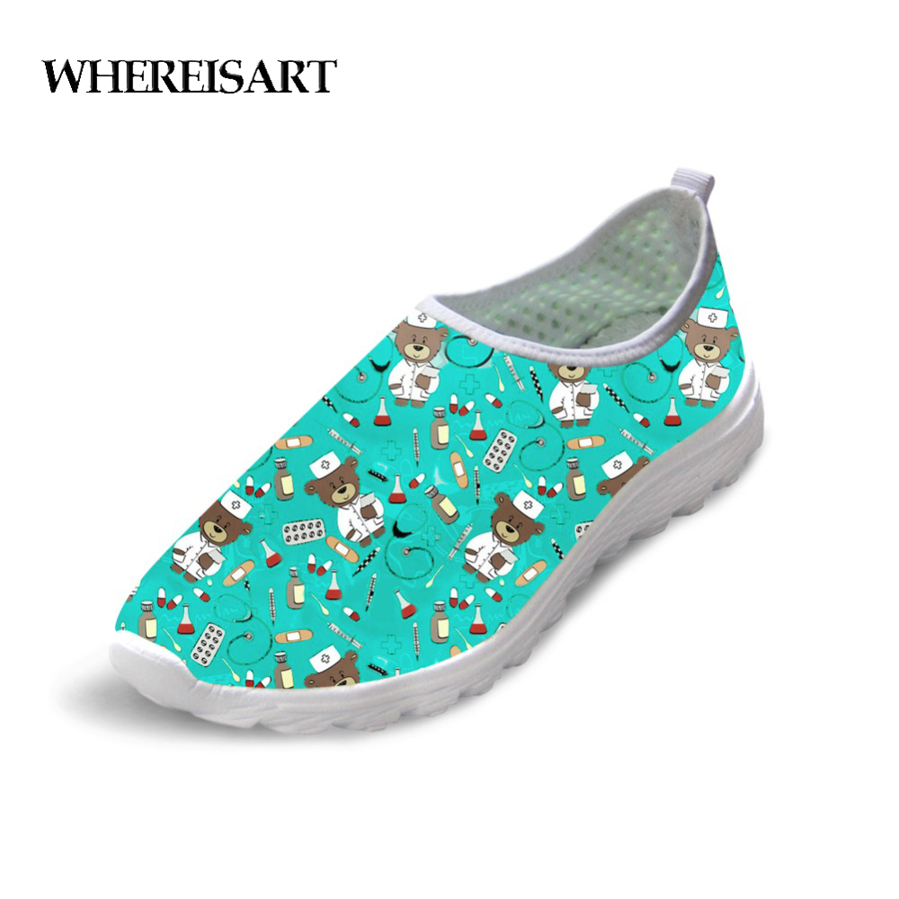 WHEREISART Flats Women Nurse Shoes Woman Cute Bear Nurses Print Casual Sneakers Womens Summer Comfortable Ladies Shoes Loafers image