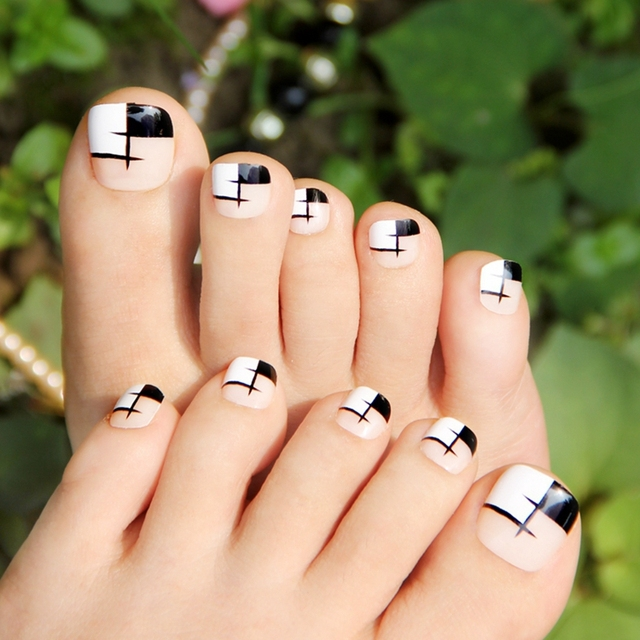 False Toe Nails Artificial Nails Natural Color Ink Grid Simple