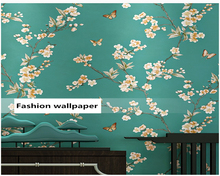 beibehang American pastoral wall paper hotel decoration tea house Chinese classical small flower TV background 3d wallpaper