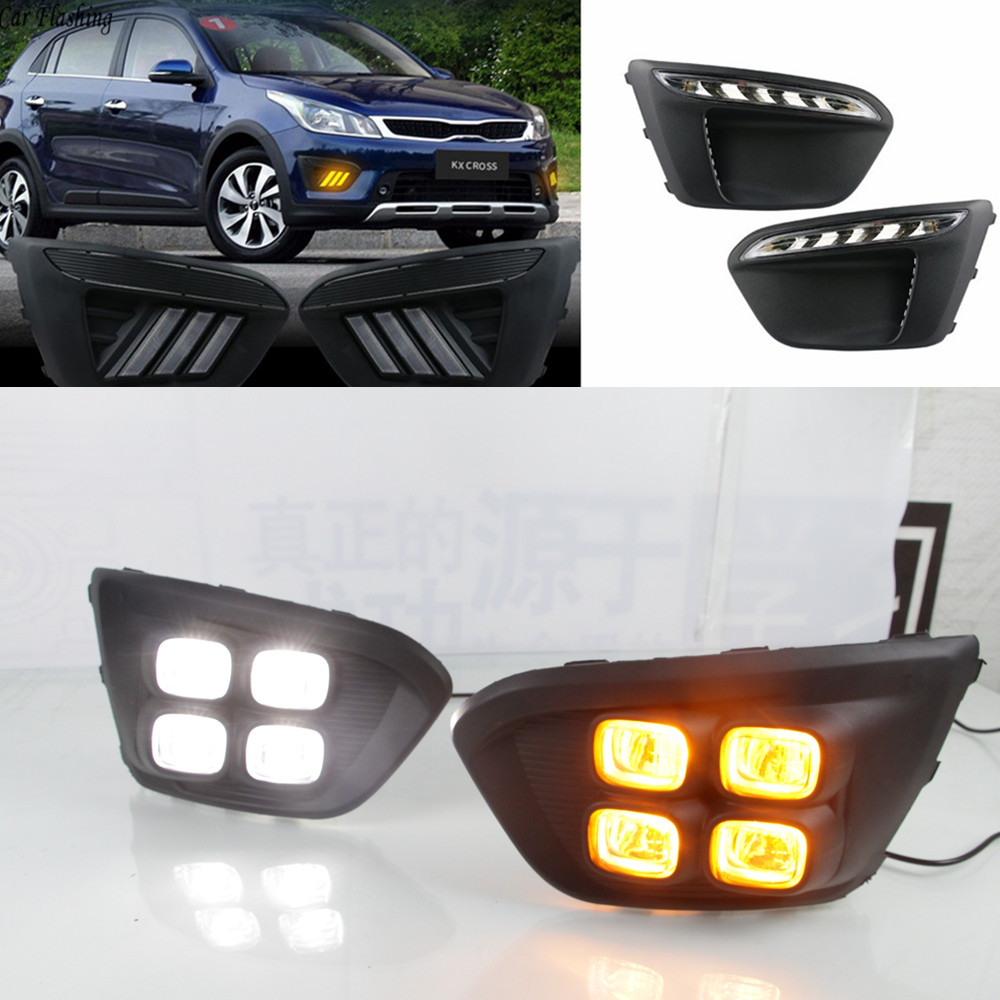 Car flashing 1Pair Super Bright Car LED Auto Driving DRL Daytime Running Lights With Turn Signal