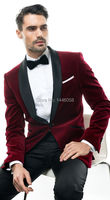 2018 Tailor Made Slim Fit Shawl Lapel Groomsman Burgundy Velvet Tuxedo Party Blazer Men Suits Wedding Groom
