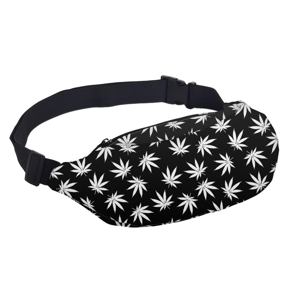 Cannabis Leaves Printed Zipper Waist Bag Bags Best Deals