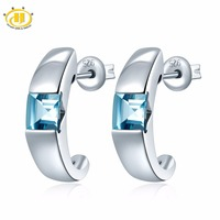 1 12 CT Genuine Aquamarine Solid 925 Sterling Silver Stud Earrings For Women Fine Jewelry
