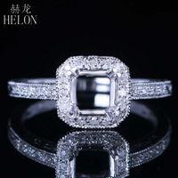 HELON 6mm Round Semi Mount Engagement Diamonds Ring Solid 14k White Gold Vintage Art Deco Style