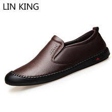 LIN KING Comfortable Genuine Leather Men Casual Shoes Slip On Lazy Loafers Spring Autumn Man Soft Light Footwear Flats Shoes цены онлайн