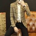 2016 Новых Людей прибытия костюм пиджаки masculino мужской костюм куртка блейзер плед полосатый Шерстяные Slim fit пальто Тенденция Осень и зима