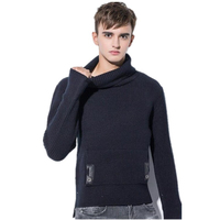 New 2018 Men S Thick Warm Sweater Turtleneck Sweater Pocket Fashion Tide Models Korean Style Men