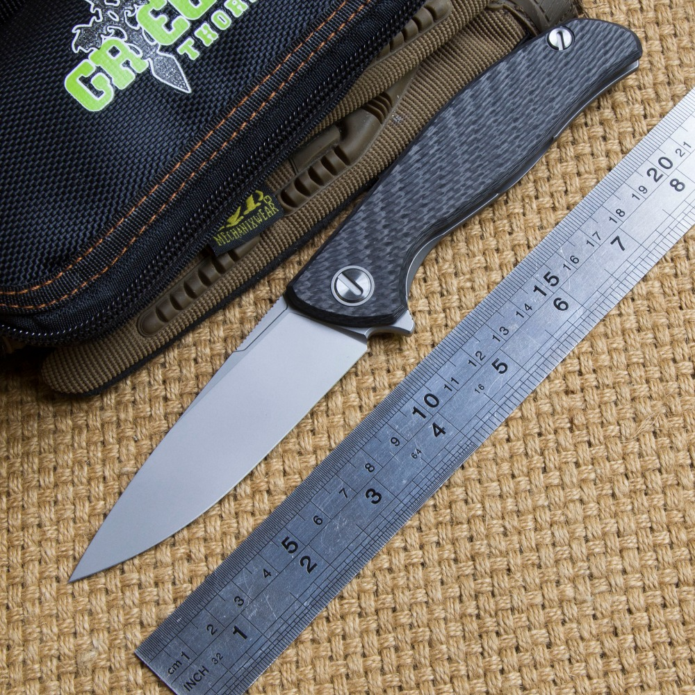 Green thorn hati 95 Flipper folding knife D2 blade ball bearing carbon fibre camping hunting outdoor