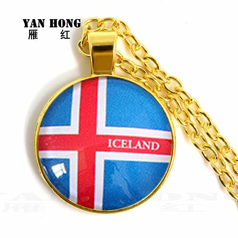 ¿Yanhong de moda de joyería de cristal collar de cristal de 25mm hecho a mano de la bandera nacional? Ama a su país,
