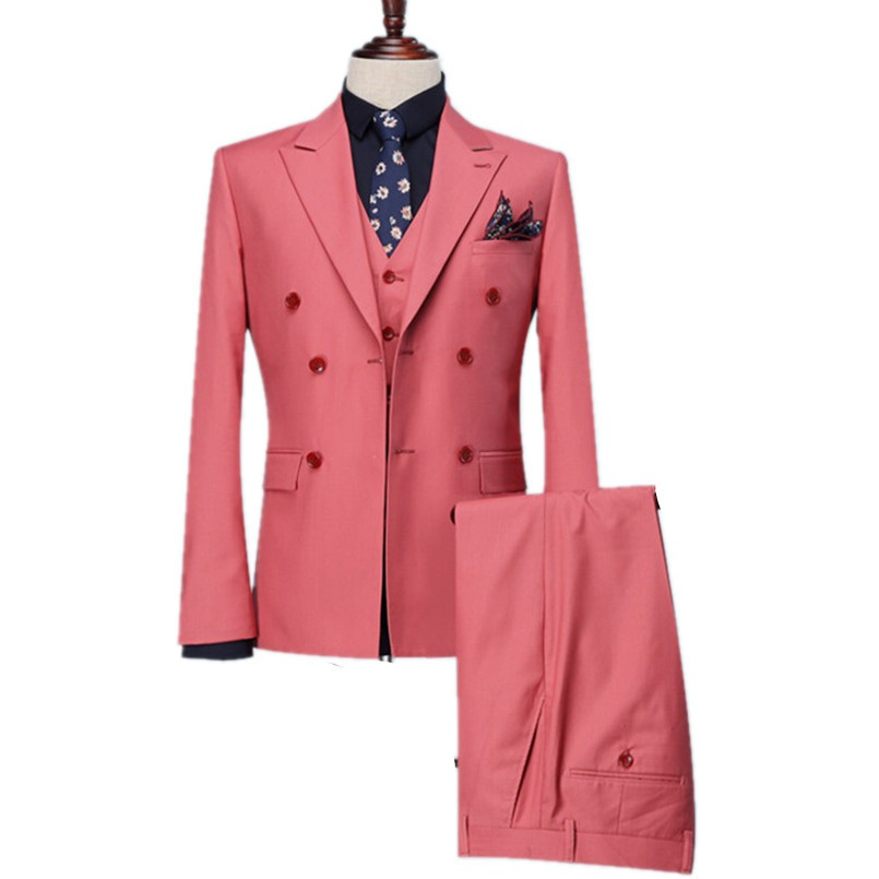 Double-Breasted Groomsmen Peak Lapel Groom Tuxedos Coral Men Suits Wedding Best Man Blazer (Jacket+Pants+Tie+Vest) B957