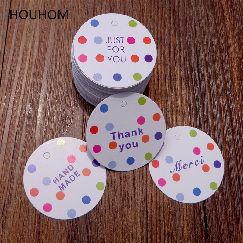 100pcs Dot Paper Gift Box Tags Thank You Merci Wedding Party Favor Carton Cardboard Dragee Packing Decor Paper Cards Hang Tags