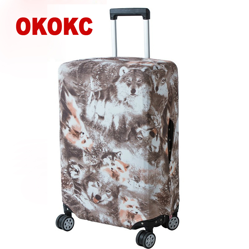 OKOKC Thin Wolf Printing Luggage Protective Cover Travel Suitcase,Dust Zipper Cover Elastic Waterproof Accessories Covers
