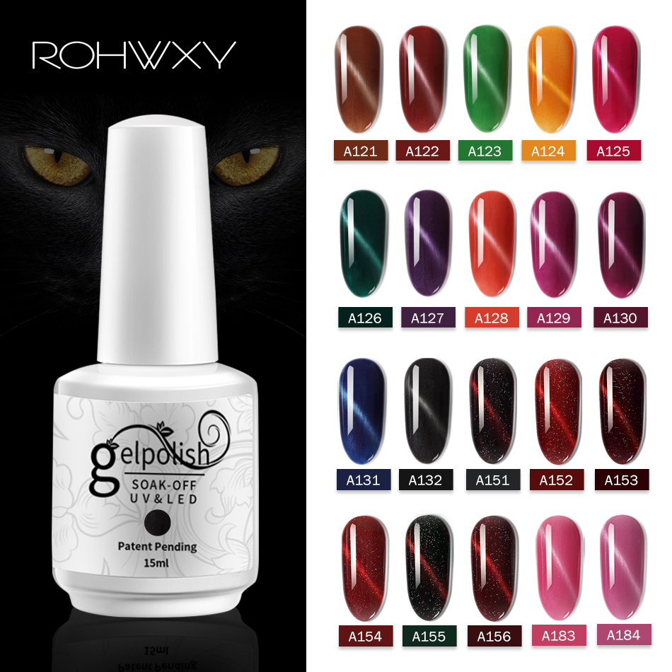 ROHWXY 15ml Soak Off UV Gel Nail Polish Paint Lacquer 60 Color Cat Eye Nail Art Design Magnetic Nail Polish UV Nail Varnish Gel