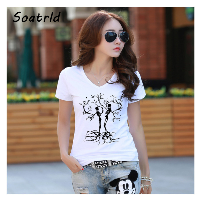 soatrld 2017 women t shirt printed t shirt women short. Black Bedroom Furniture Sets. Home Design Ideas