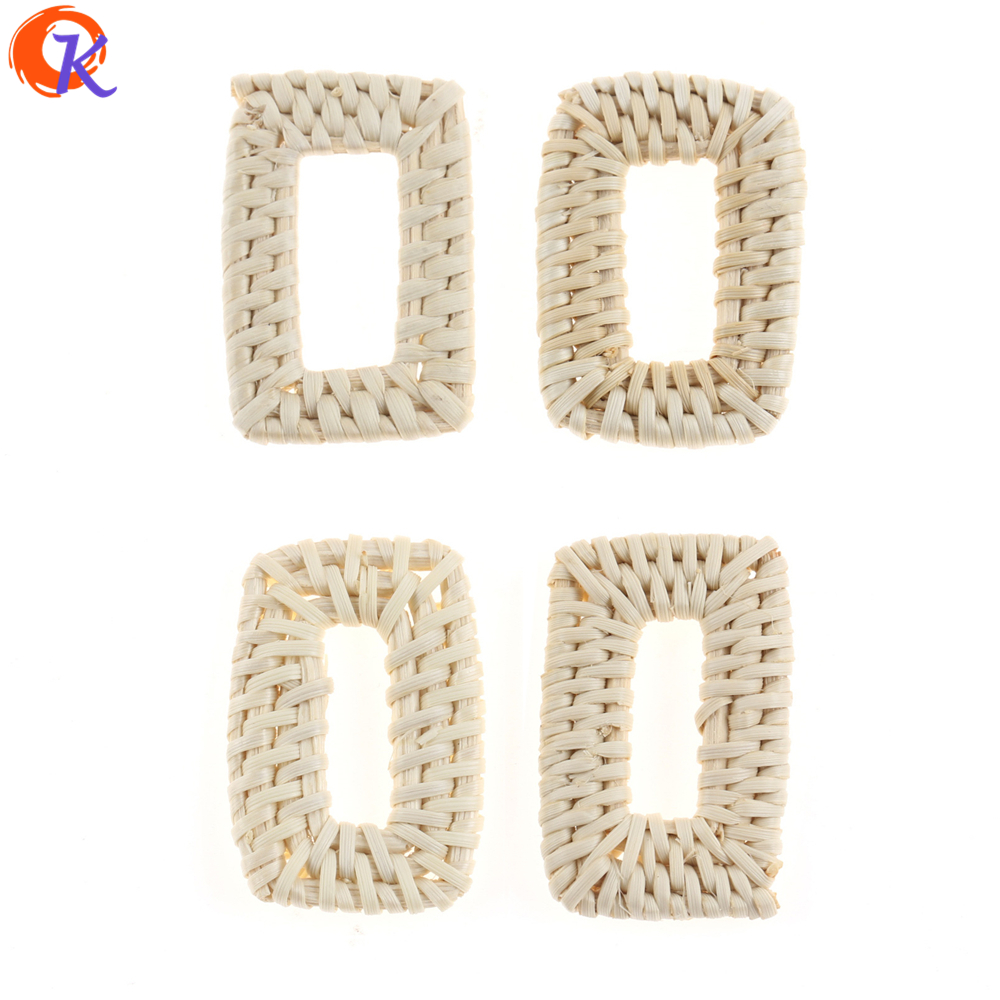 Cordial Design 20Pcs 28*44MM Jewelry Findings/Hand Made/Embellishment/Hollow Rectangle Shape/Bamboo Rattan/Earring Accessories