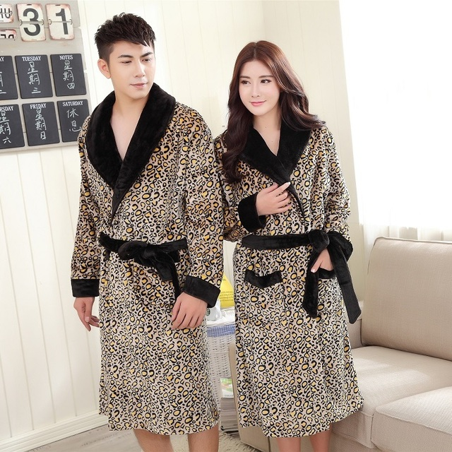 30f9562d44 autumn winter men leopard-print flannel robe women gown home clothing  couples sleepwear warm pijama hombre