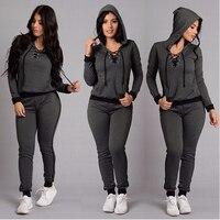 2PCS 1 Set Hooded Coat Ladies 2 In 1 Suit Tracksuit Hoodie Hooded Sweater Pant S