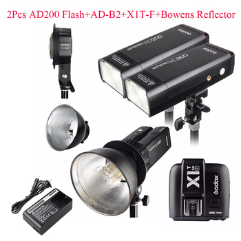 Godox AD200 2Pcs + AD-B2 + X1T-F + Bowens Reflector 400W Strobe Flash for Fujifilm Camera
