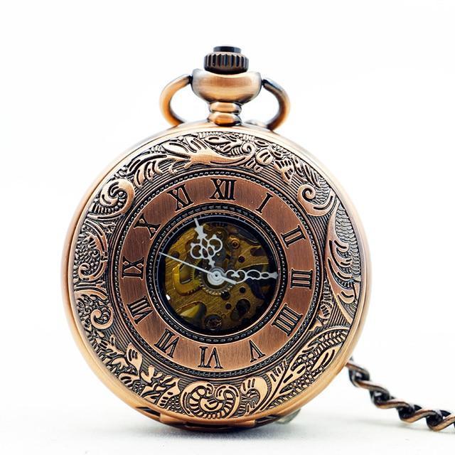 10pcs/lot Retro Skeleton Copper Key Style Roman Dial Luxury Case Clock Mechanica