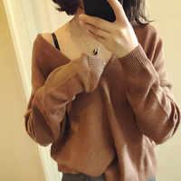 JECH printemps hiver femmes cachemire laine Sexy col en v pull décontracté femme chauve-souris à manches longues beaucoup de couleurs lâche pulls tricotés