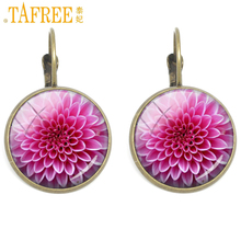 TAFREE beautiful clip earrings big red flower vintage ethnic for women earring red chrysanthemin fashion  jewelry C303