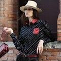 Veri Gude Polka Dot Blusa Mulheres Veludo Cotelê Tecido da Cor do Contraste Bolso No Peito