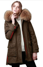 Wandouble  jacket coat women's parkas army green Large raccoon fur collar hooded woman outwear loose clothing xs-5xl